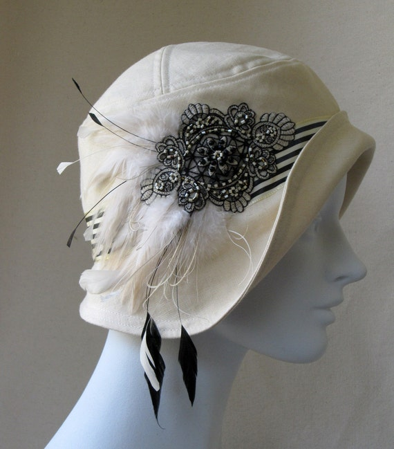 Indochine Linen And Feathers Flapper Cloche