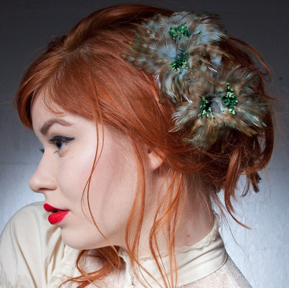 Feather Flower Hair Pins In Baby Blue And Green