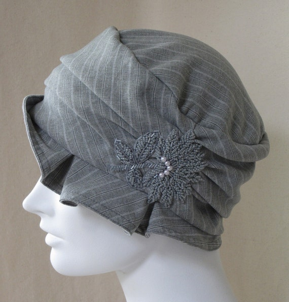 Gray Pinstripe Flapper Cloche