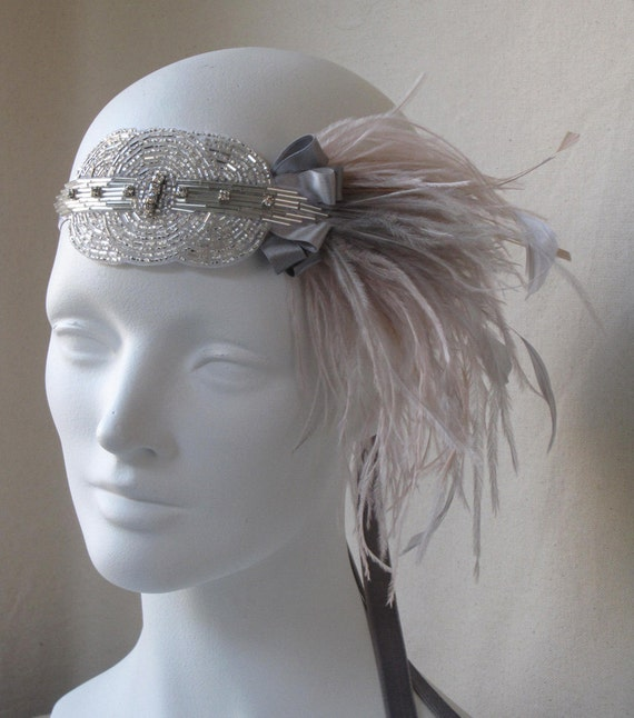 Deco Feather Headband In Shimmering Silver And Champagne Pink