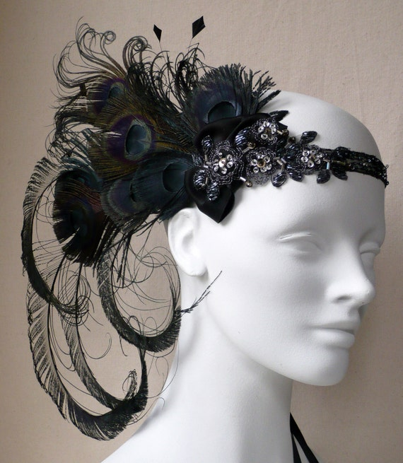Licorice Nymph Peacock Feather Flapper Headband