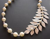 Splendid Branch with Leaves Necklace- All Swarovski Pearls