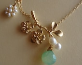 Cherry Branch  Necklace & Green Chalcedony briolette - BRANCH OF HOPE- 14kt Gold Filled chain and clasp  Fine Jewelry by lizix26