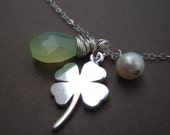 Four Leaf Clover Necklace with Pearl and Chalcedony Solid Sterling Silver  Multi Charm Best Friend, Bridal Party - LUCKY GIRL
