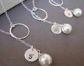 Silver Lariats SET of Three Dainty Bridal Personalized Lariat, Sterling Silver, Monogram, Swarovski Pearl, Elegant Wedding Jewelry