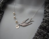 Customized Flying Bird necklace and fresh water Pearl Solid Sterling Silver  Initial of your Choice  Lovely Gift Wedding Jewelry by lizix26
