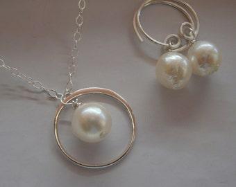 Wedding Bridesmaids Jewelry set Necklace & Earring set Akoya Pearl Eternity circle,Sterling Silver -Bridesmaids Wedding Sets, Pearl Jewelry