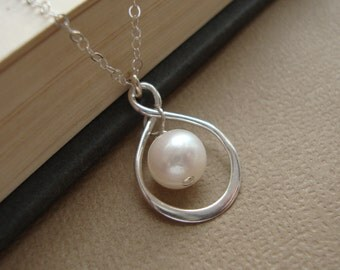 Infinity Necklace -Pearl Necklace, June Birthstone Necklace,Drop Necklace, Bridal Jewelry,Wedding Necklace Sterling Silver Infinity Necklace