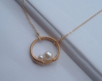 Mommy and Me Necklace- 14kt gold filled chain and clasp  wire wrapped mother and baby pearl - mom to be,design by lizix26