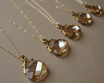 Bridal Necklaces Set of Six, gold filled, wedding gift, bridesmaids jewelry, Swarovski crystal,bridegirls necklaces,wedding bridal party