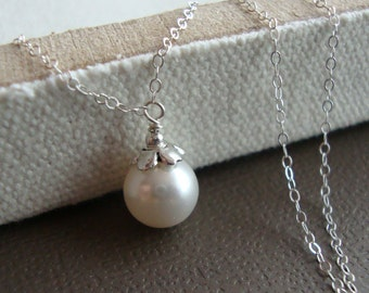 Swarovski Pearl Drop Bridal Necklace - Sterling Silver, Bridesmaids,  Wedding