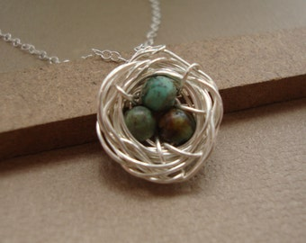 Bird  Nest Necklace  Rustic Style, African Turquoises - All Sterling Silver, Nest Necklace, Wrapped Stones, Rustic Nest Necklace in silver