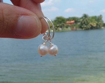Lizi tiny hoops-sterling silver and fresh water pearls