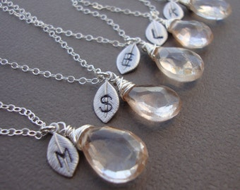 SALE 20%OFF SEVEN (7)  Stone Necklaces and Initial of your Choice - Lovely Gift, Bridal Party, Hand Stamped Leaf by lizix26