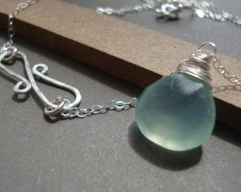 Chalcedony Necklace and Infinity Hammered Pendant all STERLING SILVER bridal, wedding necklace, everyday jewelry