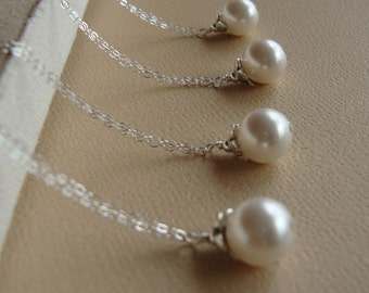 Four (4) Pearl Drop Bridesmaids Necklaces Jewelry SET Sterling Silver,Bridesmaids,Bridal Party, Wedding Jewelry, Wedding Bridesmaids Gifts