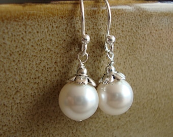 TWO pairs (2) Pearl Drops Bridal Earrings - Sterling Silver, Swarovski Pearls, Bridesmaids, Bridal Party, Wedding