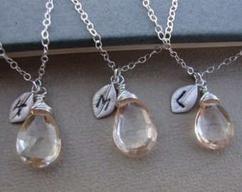 Three (3) Stone Necklaces and Initial of your Choice - Lovely Gift, Bridal Party, Hand Stamped Leaf by lizix26
