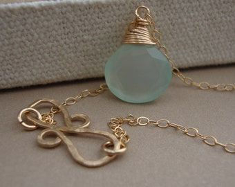 Chalcedony Necklace and Infinity Hammered Pendant all GOLD FILLED bridal, wedding necklace, everyday jewelry