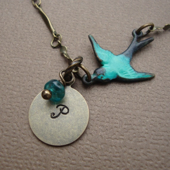 Bird and Hand Stamped Initial Necklace - Vintage Style Antique Brass, Stone of your Choice Rustic