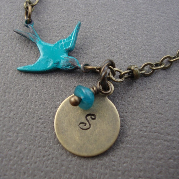 Bird Necklace CUSTOM INITIAL CHARM  Vintage Antique Style