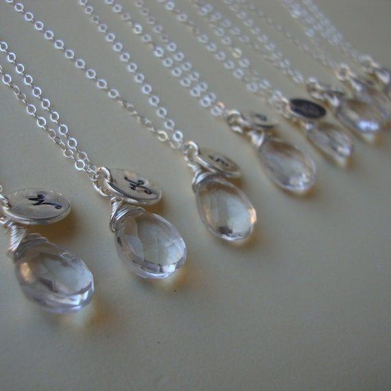 Seven Personalized Necklaces with Genuine Quartz briolettes, Initial of your Choice, bridal party, wedding, handmade jewelry