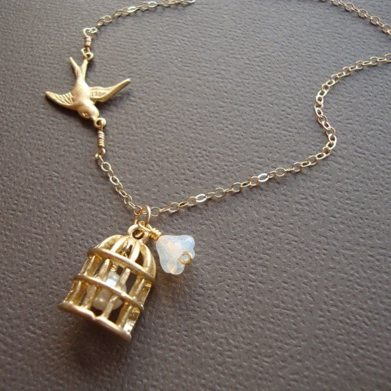 Bird Cage Necklace - Gold Filled- Czech Flower and Pearl, Lovely Jewelry, Bridal Wedding Necklace, Special Friend