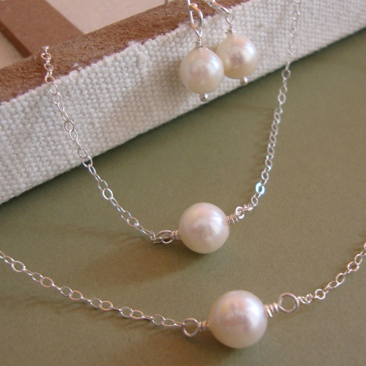 Pearl Necklace Akoya: Akoya Pearl Bridal Jewelry SET Necklace Earring & Matching
