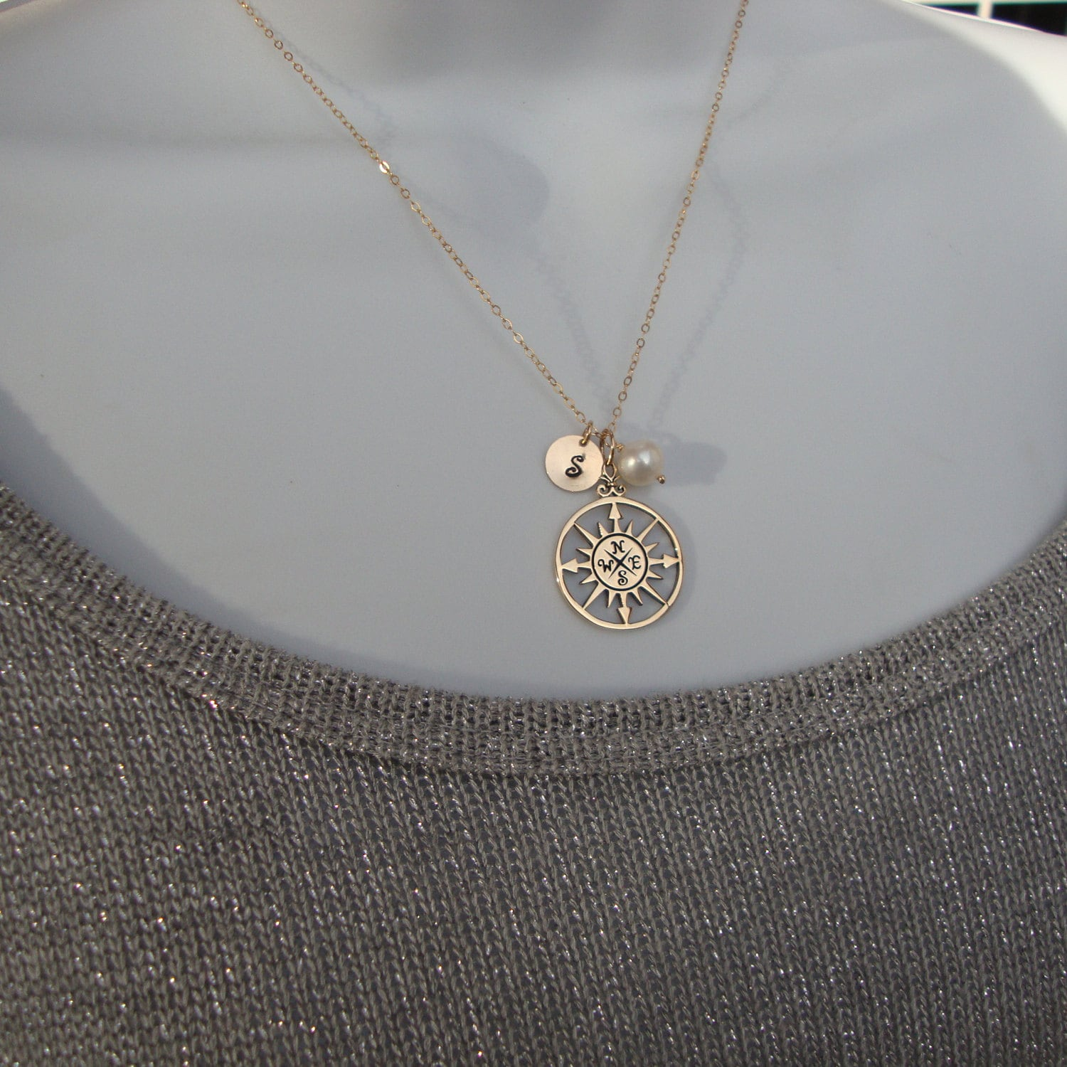 Personalized compass rose necklace gold filled monogram for Rose gold personalized jewelry