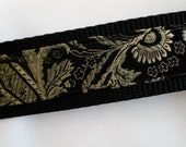 black pearl brocade silk, large dog collar, 1.5 inches wide, adjustable, ready to ship