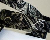 brocade silk in black pearl, dog leash, ready to ship