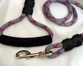 super strong dog leash, 4 feet long, uber hip climbing rope, triangle style handle, ready to ship