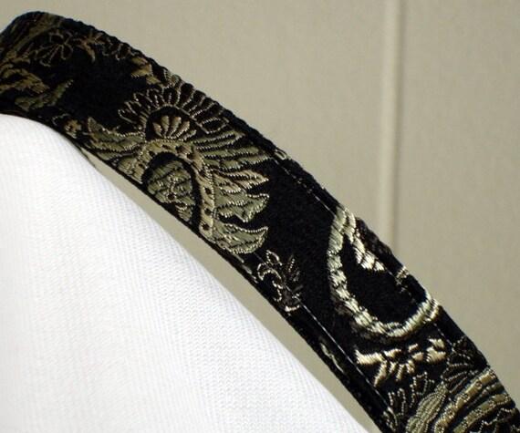 small dog collar - black pearl brocade silk - ready to ship