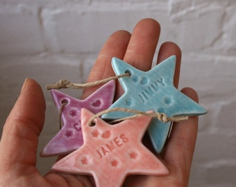 Personalised Porcelain Star Decoration, SALE LUCKY DIP