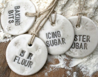 ONE Porcelain baking label, hemp string, kitchen tags, 10 choices