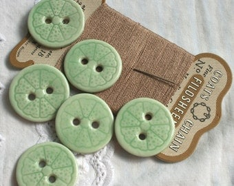 SALE 6 Lime Porcelain Buttons, Citrus Fruit