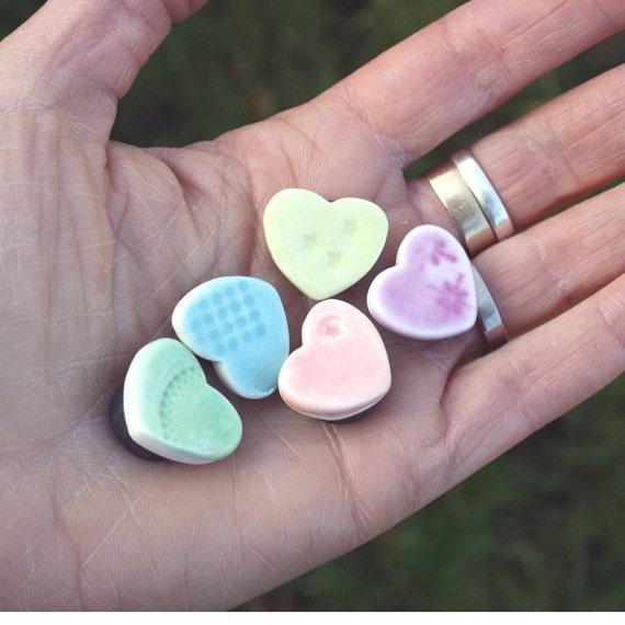 10 Porcelain Mini Heart Magnets