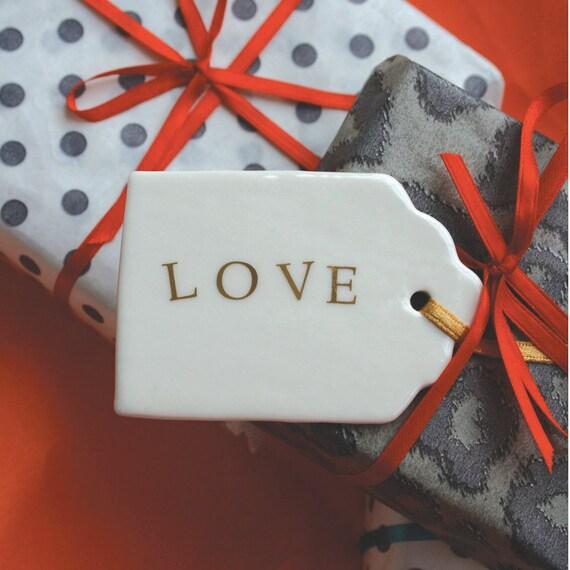 Love Porcelain Gift Tag, real gold lustre lettering