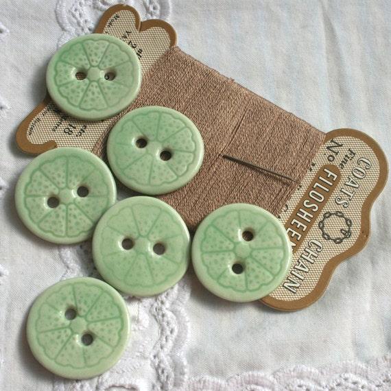 SALE 6 Lime Porcelain Buttons, Citrus Fruit