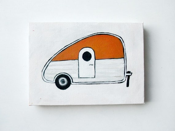 Orange Camper - Original 5x7 Painting
