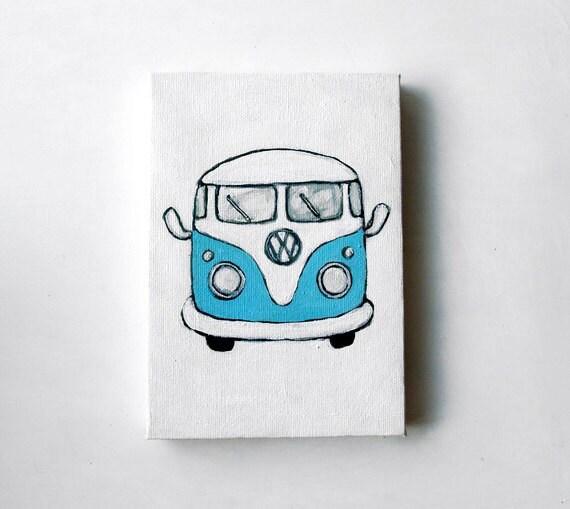 Blue VW Van - Original 5x7 Painting