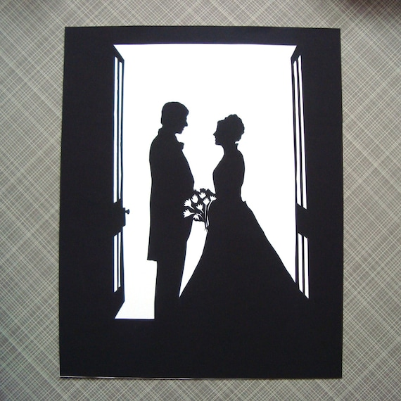 Custom Silhouette Portrait Contemporary Papercut Duet