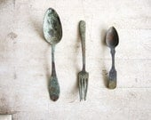 Antique Artifact Spoons and Fork  Collection circa 1860's