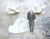 Vintage Bride and Groom Paper Dolls Reception, Shower, Rehearsal, or Gift Tags