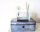 Retro Office Supply- Vintage Chemistry Test Tube Rack for Industrial Decor