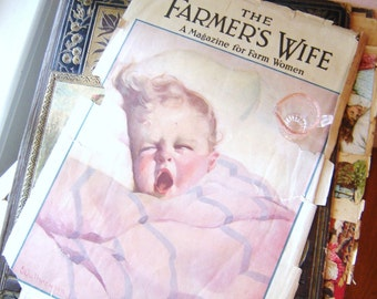 "Nursery Decor, Baby""s Room Decor, Drawings and Illustrations, Vintage Baby, 1920's Farmer's Wife Magazine Illustration"
