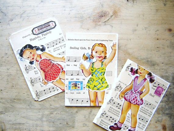 Vintage 1940's Paper Dolls Thank  You Notes or Greeting Cards Set
