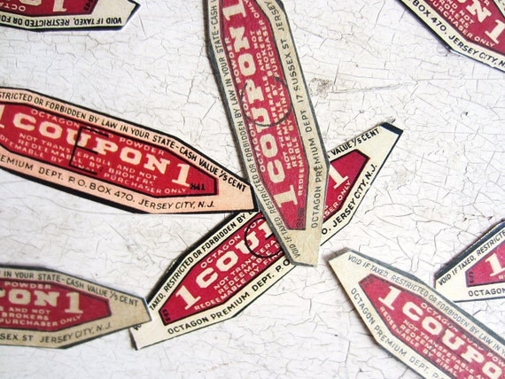 Vintage Coupons Table  Confetti or Collage Pieces