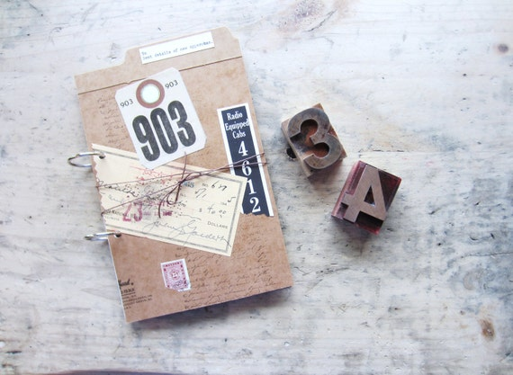 Vintage Repurposed Office Papers Journal or Planner
