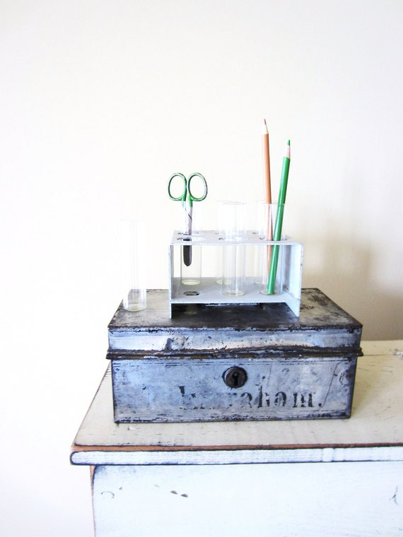 Retro Office Supply- Vintage Chemistry Test Tube Rack for Industrial Decor